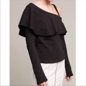 Anthropologie Postmark Ruffled One Shoulder Top
